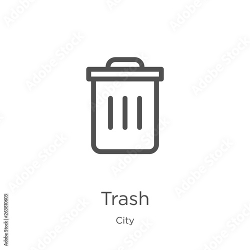 Fototapety, obrazy: trash icon vector from city collection. Thin line trash outline icon vector illustration. Outline, thin line trash icon for website design and mobile, app development.