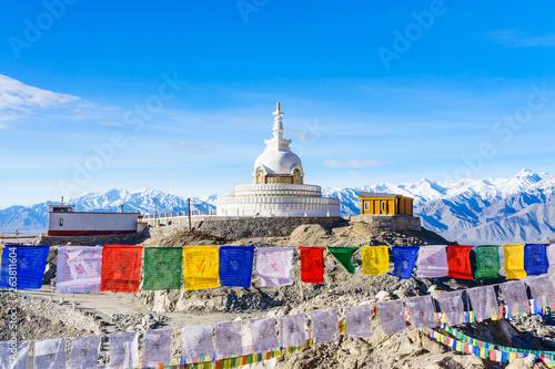 Fotografie, Obraz Shanti Stupa on a hilltop in Changpa, Leh district, Ladakh Region, Jammu and Kas