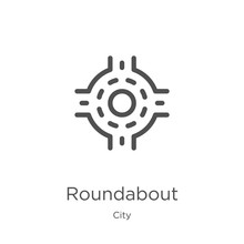 Roundabout Icon Vector From City Collection. Thin Line Roundabout Outline Icon Vector Illustration. Outline, Thin Line Roundabout Icon For Website Design And Mobile, App Development.