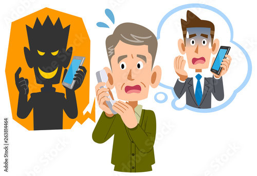 Photo 電話を使った詐欺に騙されるシニアの男性