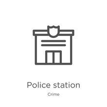Police Station Icon Vector From Crime Collection. Thin Line Police Station Outline Icon Vector Illustration. Outline, Thin Line Police Station Icon For Website Design And Mobile, App Development.