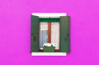 Leinwanddruck Bild - Colorful wall and window of residential house in Italy
