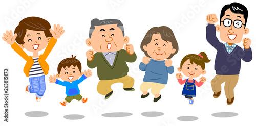 Valokuvatapetti ジャンプする幸せな三世代家族 シニア中心