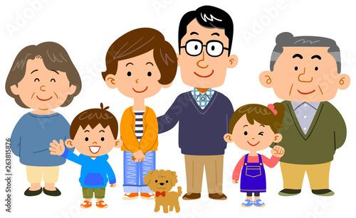 幸せな三世代家族 Fototapeta