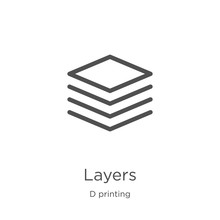 Layers Icon Vector From D Printing Collection. Thin Line Layers Outline Icon Vector Illustration. Outline, Thin Line Layers Icon For Website Design And Mobile, App Development.
