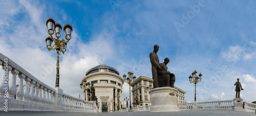 Foto op Aluminium Historisch mon. Panoramic view of Art bridge in front of Ministry of Finnance in Skopje, Macedonia, low angle view