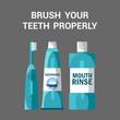 Teeth Brushing Accessories Vector Illustration