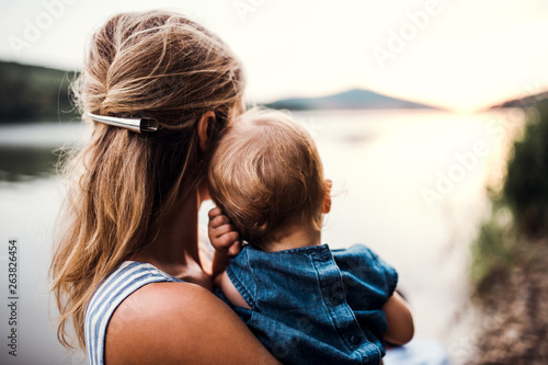 Fotografie, Obraz A rear view of mother with a toddler daughter outdoors by the river in summer
