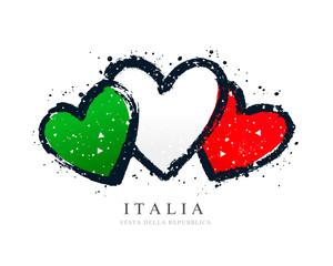 Talijanska zastava u obliku tri srca. Vektorska ilustracija na bijeloj pozadini.