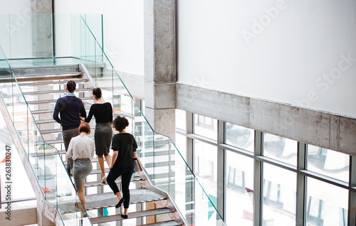 Rear view of group of young businesspeople walking up the stairs. Fototapeta