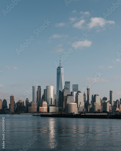 Tuinposter New York City Skyline of downtown Manhattan of New York City at dusk, viewed from New Jersey, USA