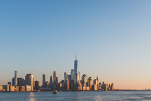 Skyline Of Downtown  Manhattan Of New York City At Dusk, Viewed From New Jersey, USA