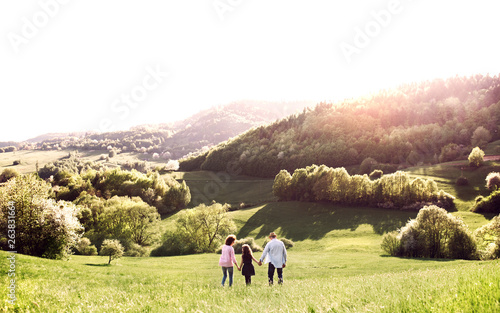 Rear view of senior couple with granddaughter on a walk outside in spring nature.