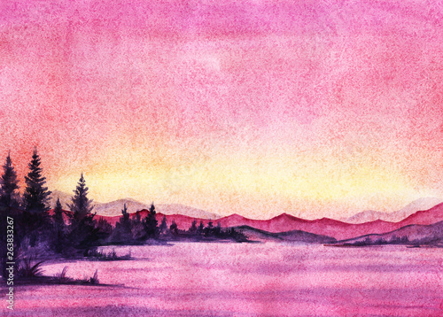 Sunset landscape with sea and transparent mountains, dark silhouette of spruce forest in a pink, blue, yellow, violet, lilac pastel colors. Hand drawn real watercolor illustration