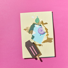 Flat Lay Paper Origami: Chocolate Ice Cream On A Duotone Backgro
