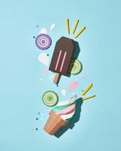 Flat Lay Paper Origami: Chocolate Ice Cream, In A Waffle Cone An
