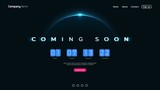 Fototapeta Dmuchawce - Coming Soon text on abstract Sunrise Dark Background with Flip countdown clock counter timer
