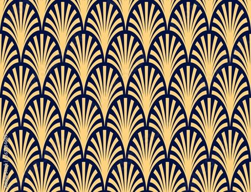 wektorowy-bezszwowy-deseniowy-abstrakcjonistyczny-palmowej-galaz-wzor-zmrok-blekit-i-zloto