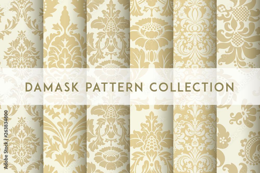 Fototapeta Set of Vector seamless damask patterns. Rich ornament, old Damascus style pattern