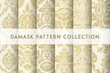 Fototapeta Dmuchawce - Set of Vector seamless damask patterns. Rich ornament, old Damascus style pattern