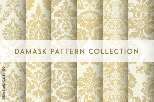 Tuinposter Kunstmatig Set of Vector seamless damask patterns. Rich ornament, old Damascus style pattern