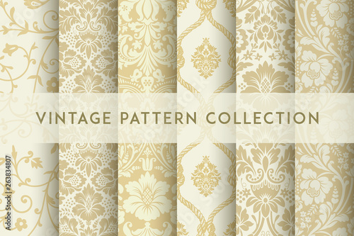 Set of Vector seamless damask patterns. Rich ornament, old Damascus style pattern
