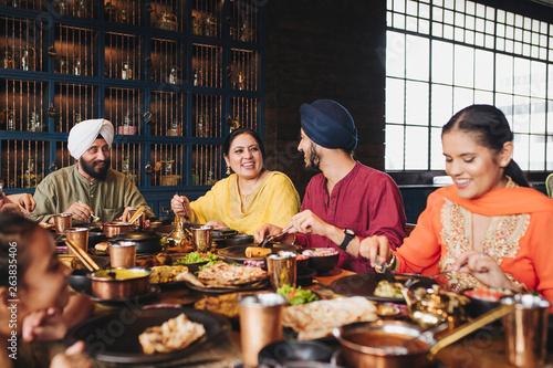 Family enjoying dinner time - 263835406
