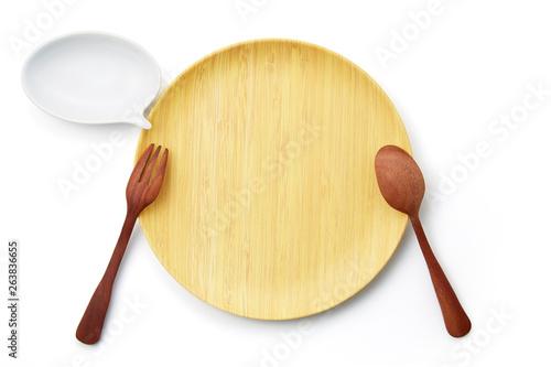 Fotografia, Obraz  バンブープレート-スプーン-フォーク-テーブルマナー