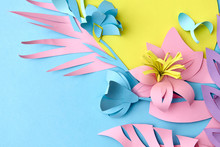 A Modern Colorful Paper Composition For Home Decor With Leaves A
