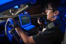 Police Officer Inside Car Talk...