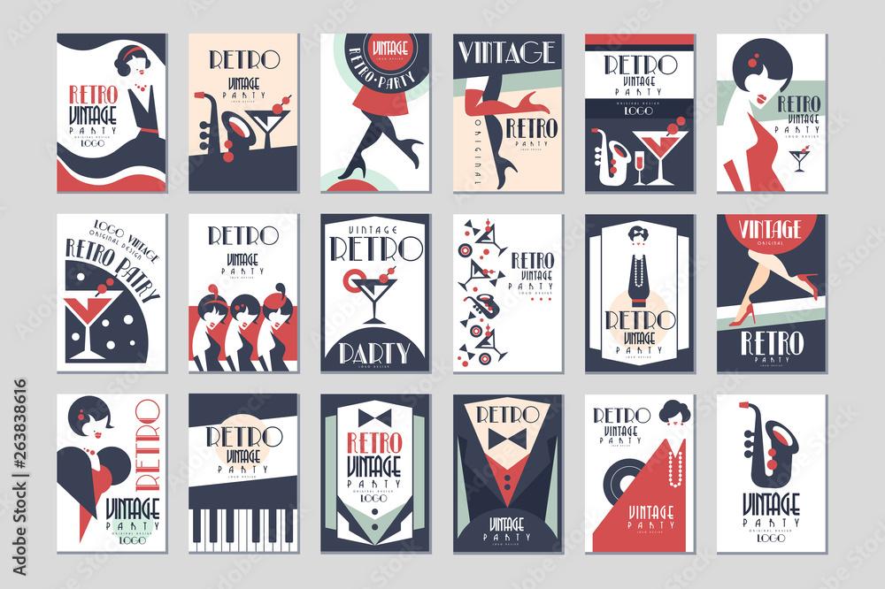 Fototapeta Vintage party poster set, retro style design vector Illustrations