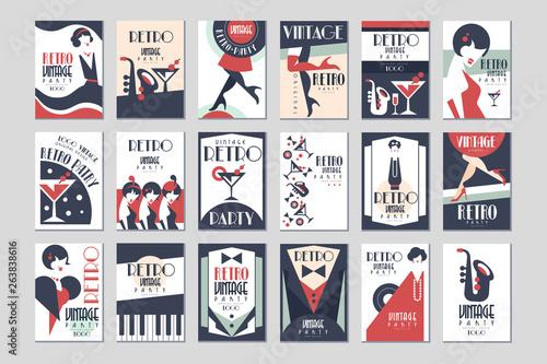 Vintage party poster set, retro style design vector Illustrations - fototapety na wymiar