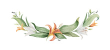 Watercolor Vector Wreath Of Orange Lily Flowers And Green Leaves.