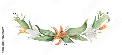 Stampa su Tela  Watercolor vector wreath of orange Lily flowers and green leaves.