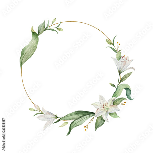 Fotografering Watercolor vector wreath of Lily flowers and green leaves.