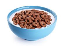 Bowl With Chocolate Corn Rings, Milk, Yogurt Isolated On White Background.