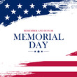 USA Memorial Day greeting card with brush stroke background in United States national flag colors. Vector illustration.
