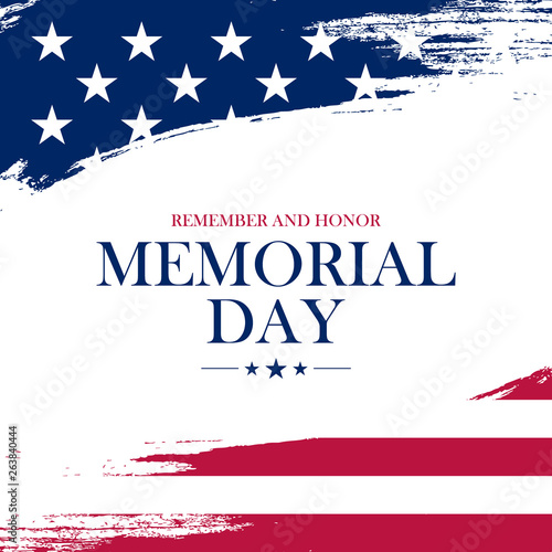 Fotografía  USA Memorial Day greeting card with brush stroke background in United States national flag colors