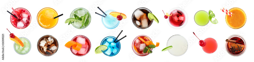 Fototapeta Set of different delicious cocktails on white background, top view - obraz na płótnie
