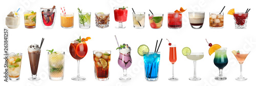 Photographie Set of different delicious cocktails on white background