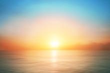 Sunrise Horizon Cool Sea Background On Horizon Tropical Sandy Beach; Relaxing Outdoors Vacation