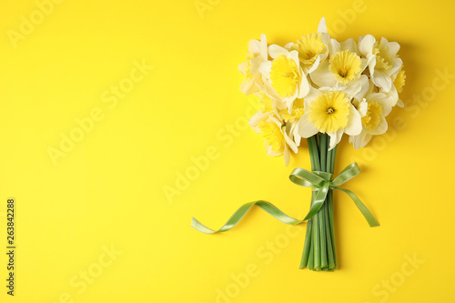 Bouquet of daffodils on color background, top view with space for text Wallpaper Mural