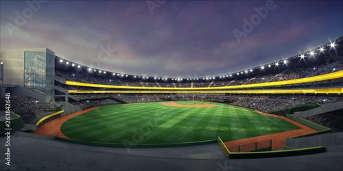 Fotografiet  General view of illuminated baseball stadium and grass playground from the grand