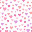 Seamless romantic pattern with randomly scattered hearts. Vector illustration.