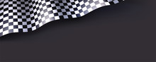 Checkered Flag Isolated On Bla...