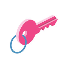 Keys 3d Vector Icon Isometric Pink And Blue Color Minimalism Illustrate