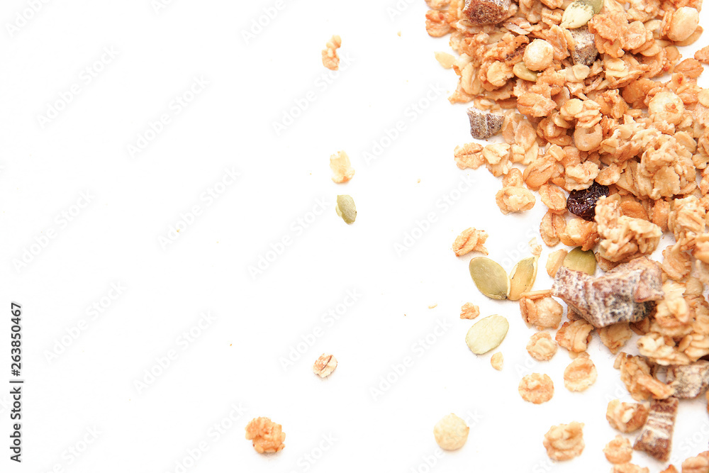 Fototapety, obrazy: Crispy muesli dry Breakfast isolated on white background selective focus, top view