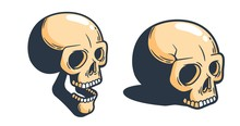 Cartoon Skull In Half Turn. Print Stamp Style. Vector Illustration.