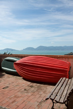 Red Dinghy And Park Bench Tellaro Liguria Italy