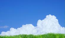 夏の雲(積乱雲)と草原